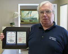 Gene Tenglin with framed Titanic Boarding Pass
